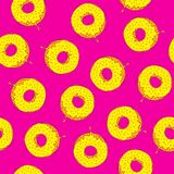 Seamless pattern with donuts. Hand drawing. Stock Photos