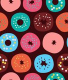 Seamless pattern with donuts, vector texture with cakes, decorative sweet background. Stock Photo