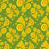 Seamless pattern with doodle abstract deformation circles in yellow orange on olive. Seamless pattern with doodle abstract deformation circles in Memphis style Royalty Free Stock Photo