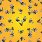 Seamless pattern with doodle bees Royalty Free Stock Photography