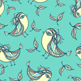 Seamless pattern with doodle birds in blue Stock Photos