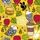 Seamless pattern with doodle birds and fast food. Stock Photos