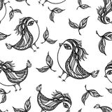 Seamless pattern with doodle birds in white black Royalty Free Stock Photo