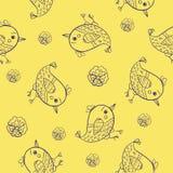 Seamless  pattern doodle birds Stock Photo
