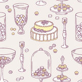 Seamless pattern with doodle candy bar objects Stock Images