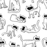 Seamless pattern with doodle cats. Background with funny domesti. C kitty in line art sketchy style. Vector illustration for design elements, backdrops stock illustration