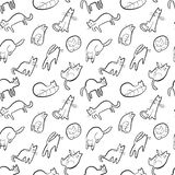 Seamless pattern with doodle cats. Background with playing kitt. En in incomlete cute sketchy style. Vector line art illustration for surface designs, wallpapers stock illustration