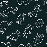 Seamless pattern with doodle cats. Background with playing kitt. En in incomlete cute sketchy style. Vector line art illustration for surface designs, wallpapers vector illustration