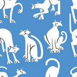 Seamless pattern with doodle cats. Background with playing kitt vector illustration