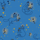 Seamless pattern with doodle cats drinking wine. Vector illustration Stock Photography