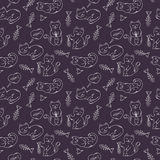 Seamless pattern with doodle cats and fish bones Royalty Free Stock Photo