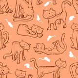 Seamless pattern with doodle cats and mouse. Background with fun. Ny domestic kitty and rats in line art sketchy style. Vector illustration for design elements vector illustration