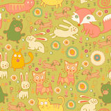 Seamless pattern of doodle cats and rabbits Royalty Free Stock Images