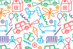 Seamless pattern with doodle children drawing. Royalty Free Stock Photography
