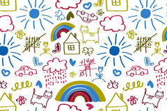 Seamless pattern with doodle children drawing. Stock Image