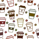 Seamless pattern with doodle coffee cups Royalty Free Stock Photo