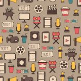 Seamless pattern of doodle colorful movie design. Seamless pattern of doodle movie design elements and cinema icons in flat style Royalty Free Stock Photography