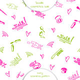 Seamless pattern of Doodle cosmetics Stock Images
