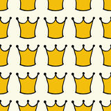 Seamless pattern with doodle crowns. Cute baby background for printing on textile, fabric, surfaces, patchwork, scrap-booking. Vintage retro style vector illustration