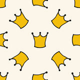 Seamless pattern with doodle crowns. Cute baby background for printing on textile, fabric, surfaces, patchwork, scrap-booking. Vintage retro style stock illustration