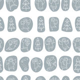 Seamless pattern with doodle dancing angels and pine trees and s Royalty Free Stock Photography