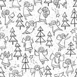 Seamless pattern with doodle dancing angels and pine trees and s Stock Photography