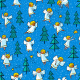 Seamless pattern with doodle dancing angels and pine trees . Win Royalty Free Stock Photos