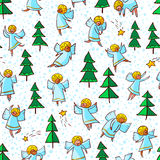 Seamless pattern with doodle dancing angels and pine trees . Win Stock Images