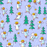 Seamless pattern with doodle dancing angels and pine trees . Win Royalty Free Stock Photography