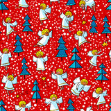 Seamless pattern with doodle dancing angels and pine trees . Win Stock Photography