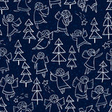 Seamless pattern with doodle dancing angels and pine trees. Wint Stock Photos
