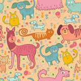 Seamless pattern of doodle dogs and cats Stock Image