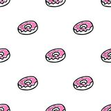 Seamless pattern with doodle doughnuts. Seamless vector pattern with doodle pink doughnuts Stock Photos