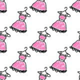 Seamless pattern with doodle dresses Royalty Free Stock Image