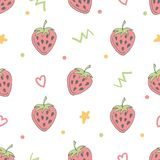 Seamless pattern with doodle elements. Cute seamless pattern with red strawberries with green leaves, brown seeds and doodle elements. White background. Doodle vector illustration