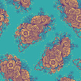 Seamless pattern with  Doodle elements in vintage handmade style in blue orange Royalty Free Stock Images