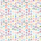 Seamless pattern with doodle  faces Royalty Free Stock Images