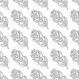 Seamless pattern with doodle fantasy leaf-1 Stock Photos