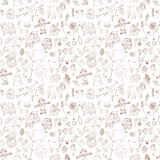 Seamless pattern with doodle farm elements Stock Images