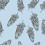 Seamless pattern with Doodle feathers Royalty Free Stock Images