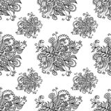 Seamless pattern  from doodle flowers  in grey Royalty Free Stock Photography