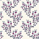 Seamless pattern with doodle flowers Stock Photos