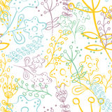 Seamless pattern with doodle flowers Stock Photo
