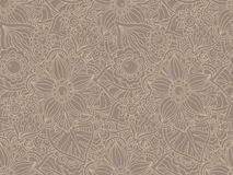 Seamless  pattern with Doodle flowers and leaves. Stock Image