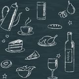 Seamless pattern with doodle food and drinks Royalty Free Stock Images
