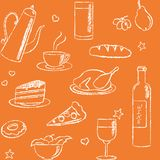 Seamless pattern with doodle food and drinks Stock Images