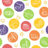 Seamless pattern with doodle food and drinks. Seamless pattern with hand drawn food and drink icons Stock Photo
