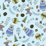 Seamless pattern with a doodle forest Stock Photos