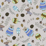 Seamless pattern with a doodle forest Royalty Free Stock Images