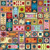 Seamless pattern with doodle frames. Stock Images